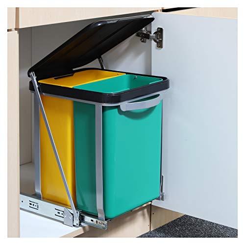 Einbau Abfalleimer Teleskop Mülleimer inklusive 2 Eimer je ca. 8 Liter • Mülltonne Mülltrennung Müllkorb Müllbehälter Küche