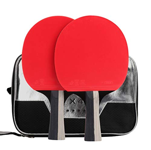 Amazing Deal KATUEF Professional 4-Star Table Tennis Racket,ping Pong Bats, red and Black Carbon King Structure pingpang Racket, 2 Set, Long Handle/Short Handle, Portable Protective Cover, Additional 3 tab
