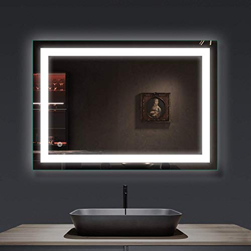 smartrun 36x28 inch LED Lighted Bathroom Wall Mounted Mirror with Adjustable Super White Lights, Anti Fog Function, Dimmable Memory Touch Button, IP44 Waterproof, Vertical & Horizontal Installation