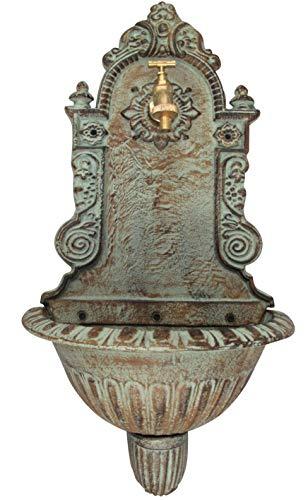 Antik Alu Bassena Garten Wand Brunnen Wandbrunnen mit Kran u Ablaufset MG1-W
