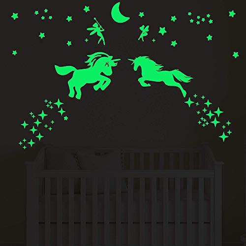 GOTONE 98 Piezas Unicornio Luminoso Pegatinas de Pared, Fluorescente Decoración de Pared para Dormitorio de Niños, DIY Decoración de la Habitación Para Chico Niña Bebé, Casa Interior Mural