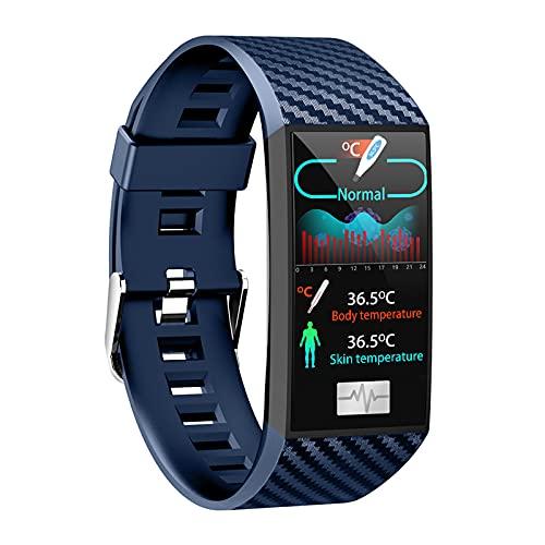 Smartwatch Reloj Inteligente Deportivo Con Monitoreo De Temperatura Frecuencia Cardíaca Presión Arterial Entrenamiento Respiratorio, Pulsera Actividad Inteligente Para Mujer Hombre Y Regalo,Azul