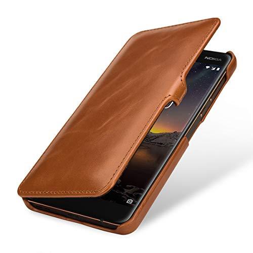 StilGut Book Type Lederhülle kompatibel mit Nokia 6.1, seitlich klappbares Flip-Hülle aus Echtleder, Cognac mit Clip