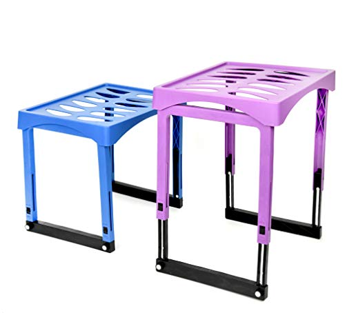 Plastic Extendable, Foldable Locker Shelf Adjust To 14 Inches with Magnet Support (Pack of 2 Colors: Purple, Blue) Durable Locker Shelf for School, Clubs, Gym, Locker Rooms, Classrooms