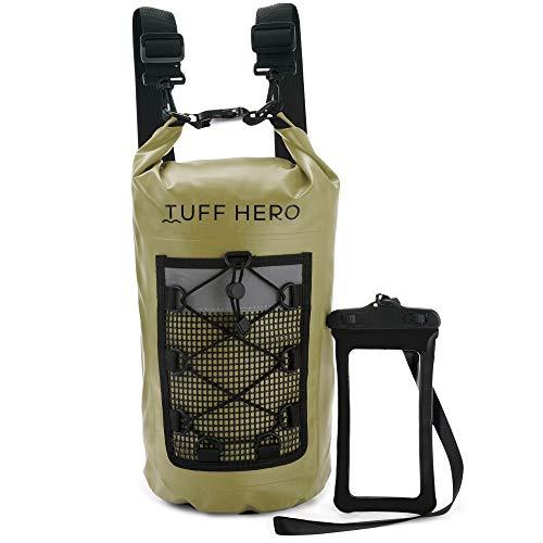 TUFF HERO Mochila impermeable de 10 l, 20 l, con correas de hombro y bolsa de teléfono flotante impermeable para kayak, barco, pesca, playa, camping, canoa, regalos para hombres y mujeres..