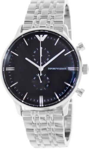 Emporio Armani 400663220553 - Reloj de Cuarzo para Hombre, con Correa de cerámica, Color Plateado