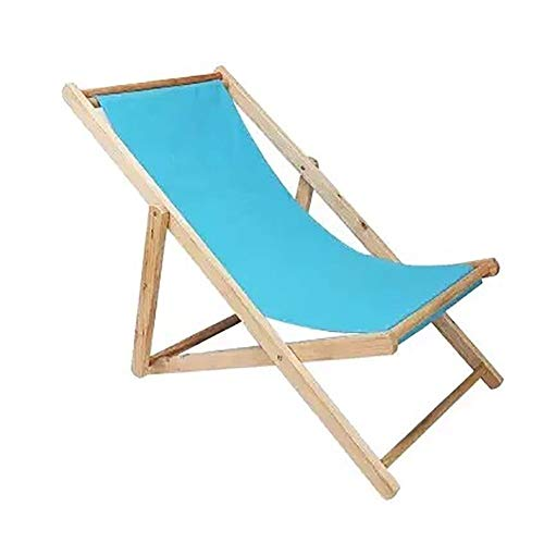RUIMA Folding Chair Garden Patio Comfy Camping Foldable Beach Deck Portable Recliner Sun Lounger With Cushion Fold Up Wooden Easy Lazy Relaxer (Color : Light blue)