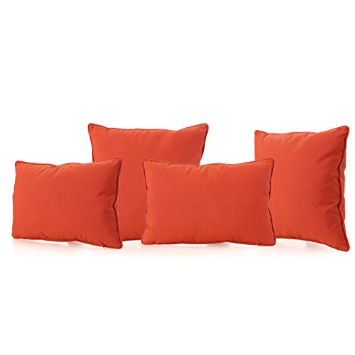 Christopher Knight Home Coronado Outdoor Water Resistant Pillows 4Pcs Set Orange