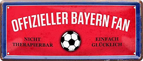 Blechschilder Hier wohnt EIN Bayern Fan/Offizieller Bayern Fan/Ich Bin Bayern Fan Deko Metallschild Schild Artikel Geschenk zum Geburtstag oder Weihnachten (Rot (28x12))