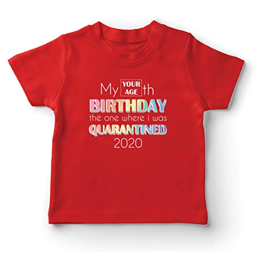 lepni.me Kinder Jungen/Mädchen T-Shirt 2020 Soziale Distanzierung Benutzerdefinierte Quarantäne Alles Gute zum Geburtstag Geschenk (12-13 Years Rot Mehrfarben)