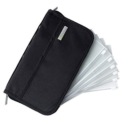 SORASION パスポートケース 家計管理 ケース クリアファイル 【 リフィル 6枚 付き 】 パスポートカバー 通帳ケース (ブラック)
