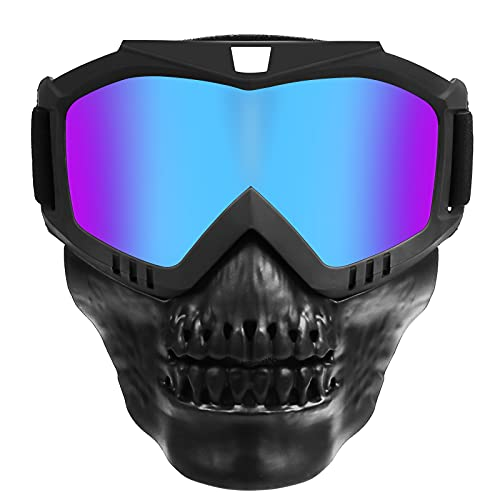 Skull Motorcycle Goggles Mask With Removable Face Mask,Safety Goggles ATV Dirt Bike Off Road Helmet Riding Motocross Eyewear (Colorful)
