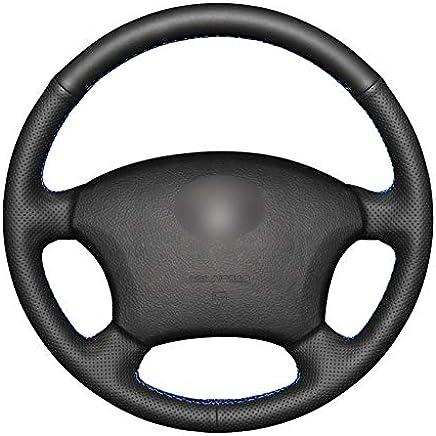 ZYTB Para Cubiertas de Volante de Coche de PU Negro Cosidas a Mano Envoltura para Toyota