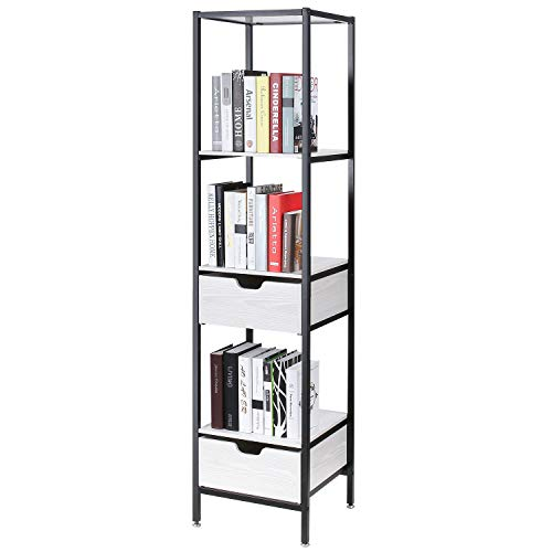Homfa Bathroom Shelf with Drawer, 4-Tier Tower with 2 Drawers Storage Organizer Rack, Multifunctional Modern Furniture Decor for Living Room Home Office