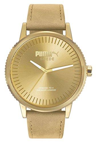 PUMA Unisex volwassenen analoog kwarts smartwatch polshorloge met lederen armband PU104101009