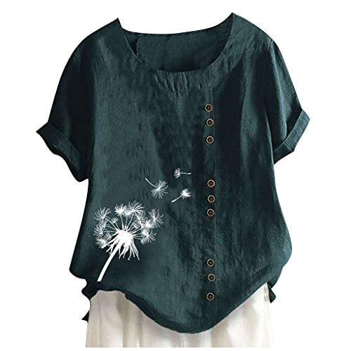 YBWZH Leinen Bluse Damen Kurzarm T-Shirt Sommer Shirt Mit Blumenmuster Casual Rundhals Bluse Locker Bequem Tunika Tops T-Shirt Große Größen Bluse Oberteile