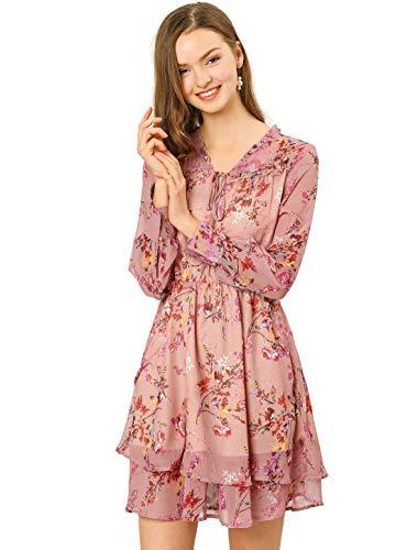 Allegra K Mini Vestido Floral De Gasa Vintage Cuello De Pico con Volantes En Capas para Mujeres Rosa XS