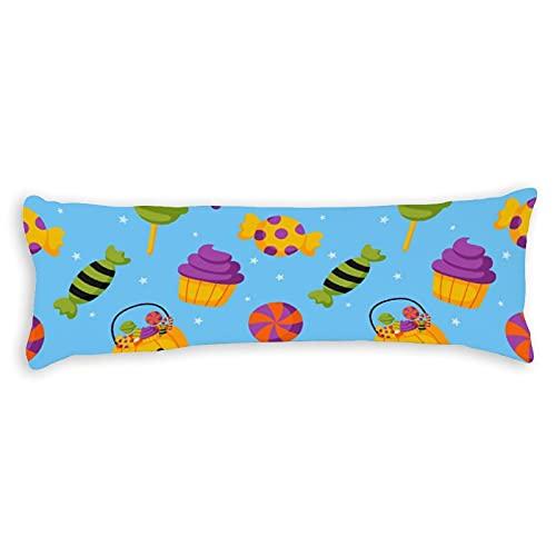 Funda de almohada de Halloween con fondo azul con cremallera, decoración de Halloween, almohada decorativa para el cuerpo, almohada de algodón de 6 pies, 50 x 180 cm para niños y niñas