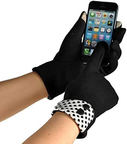 Winter Warm Cotton Wrist Gloves Black&White Grid Button Screen Gloves - (Color: Black)