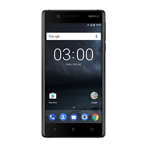 Nokia 3 Smartphone (12,7 cm (5 Zoll), 8MP Hauptkamera, 8MP Frontkamera, 2GB RAM, 16GB interner Speicher, MP3 Player, Android 8.0 Oreo, Single Sim) schwarz