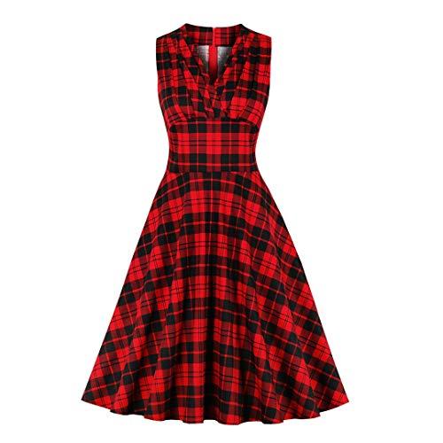 Vestidos sin Mangas para Mujer Vestido a Cuadros Rojo Vintage Casual Vestido Plisado Retro Red S