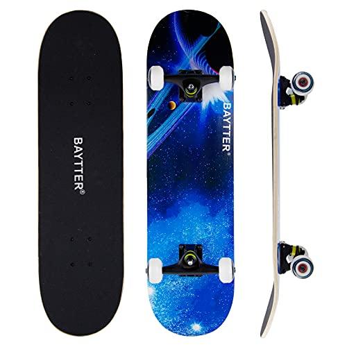 Baytter Skateboard Komplettboard Funboard 31 x 8 Zoll mit 7-lagigem Ahornholz, ABEC-11 Lager 92A PU Rädern, T-Tool, 79x20cm für Kinder Jugendliche und Erwachsene, Belastung 100kg (Sternenhimmel Blau)