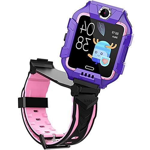 Smartwatch Reloj Inteligente NiñO Gps Y Llamadas Y Mensajes Lbs Rastreador PodóMetro Impermeable CáMara Sos Pantalla TáCtil Hd ConversacióN Bidireccional Reloj Inteligente Para NiñOs Regalo,Púrpura