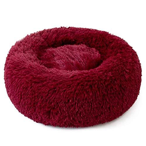 HMJ Plush Cat Bed House Cat Mat Winter Warm Sleeping Cats Nest Soft Long Plush Dog Basket Pet Cushion Portable,Wine Red,XXS (14cm)