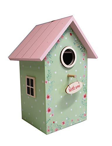 Home Collection Vogelhaus Welcome Nistkasten H22cm bunt mit rosa Dach und Streublümchen Motiv