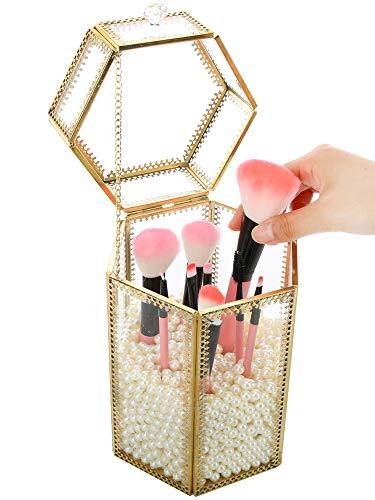 YunNasi - Support pour pinceaux de maquillage en verre avec des perles blanches - Pour coiffeuse et salle de bain, Verre, Large2