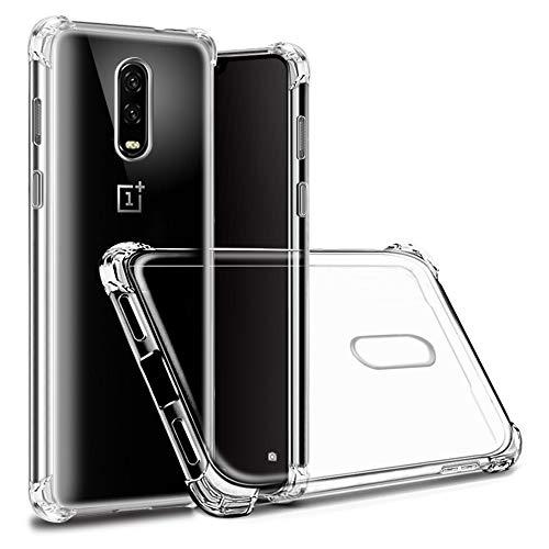 Hually Caso per OnePlus 6T, OnePlus 7 caso, Cristallo Trasparente TPU Gel Silicone Bumper Antiurto Protettiva Fibra Design Del Telefono Protector Cover per OnePlus 6T/7