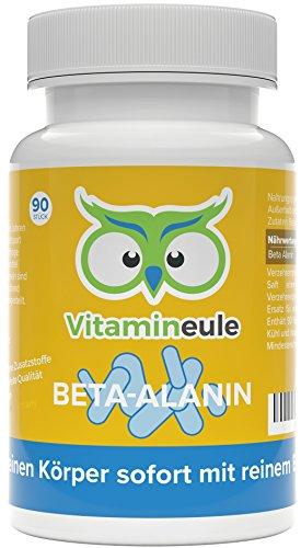 Beta Alanin Kapseln hochdosiert 500mg - Deutsche Qualität - ohne Zusatzstoffe - effektiver als L-Carnosin Kapseln/Pulver - kleine Beta Alanin Kapseln statt große L-Carnosin Tabletten - Vitamineule®
