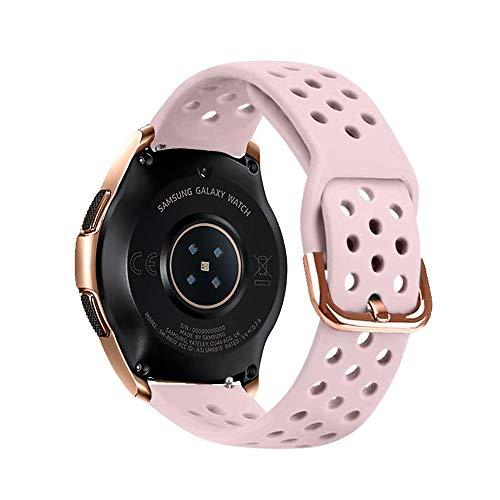 YOOSIDE Armband für Samsung Galaxy Watch 42mm/ Galaxy Watch Active 40mm, 20mm Wasserdicht Silikon Uhrenarmband Löcher Sport Ersatzarmband mit Edelstahlschnallen (Rosa)