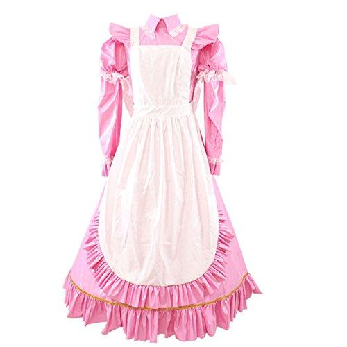GOceBaby Abschließbar Rose PVC Sissy Dienstmädchen Kostüm Kleid Uniform Zwei Möglichkeiten Lange Oder Kurzarm (3XL)