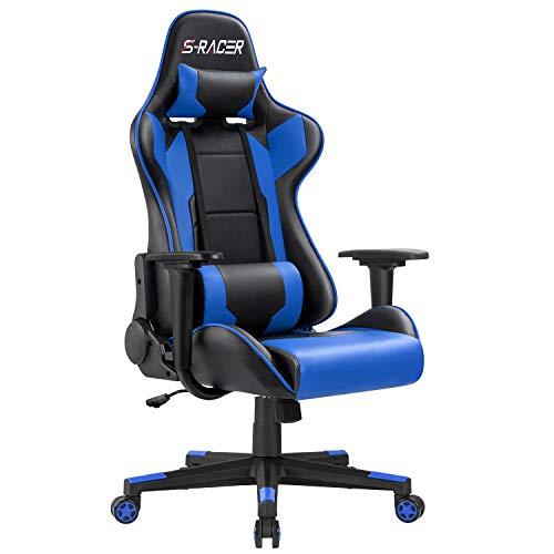 Homall Gaming Stuhl Racing Stil Bürostuhl Ergonomischer Computer Gamer Stuhl PC Stuhl mit Verstellbarer Armlehne Hohe Rückenlehne mit Lendenkissen Blau
