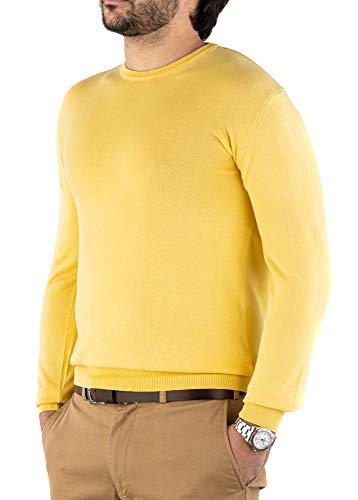 Cashmere Zone Maglione Uomo Girocollo in Puro Cotone 100% Pullover a Manica Lunga Soffice e Morbido (L, Giallo)