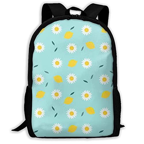Mochila escolar de dibujos animados limón menta verde flor de margarita para niñas adolescentes, mochilas de senderismo, perfectas para viajes de negocios, escapadas de fin de semana, compras,