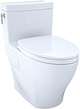 TOTO MS626124CEFG#01 Aimes WASHLET Elongated 1.28 GPF Universal Height  Skirted CeFiONtect, White-MS626124CEFG One-Piece Toilet, Cotton White - -  Amazon.com