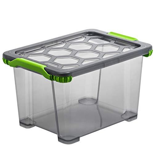 Rotho EVO - Total Protection Aufbewahrungsbox mit Deckel, Polypropylen, Anthrazit Durchscheinend, 15 Liter