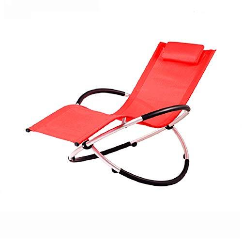 GFE Klapp Schaukelstuhl, Outdoor-Balkon Liege Klappschläfchen Lounge Chair Lazy Beach Schaukelstuhl,Red