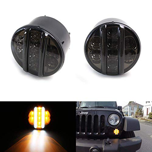 iJDMTOY (2 Smoked Lens LED DRL Turn Signal Assembly Compatible with 07-17 Jeep Wrangler (White LED Vertical Bars as Daytime Running Lights & Amber LED Dots as Turn Signal Lights)