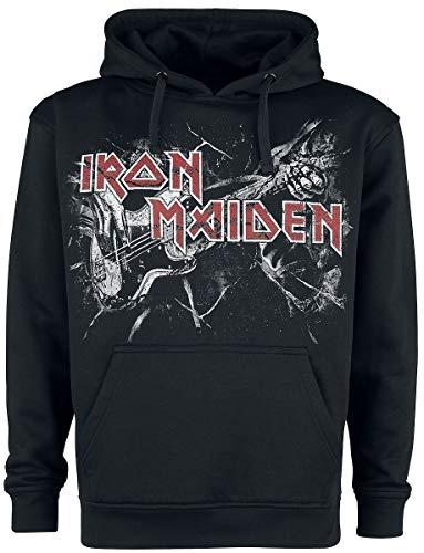 Iron Maiden Fear Live Flames Uomo Felpa con Cappuccio Nero L 100% Cotone Regular