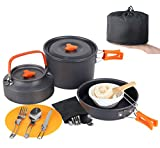Camp Cookware Set, MEETSUN 17 Piece Camping Cookware 3L Camping Pot 4 Person High Capacity Camping Gear and Equipment with Camping Coffee Pot Chopping Board Folding Knife and Fork Set for Outdoor Camping Backpacking Hiking Picnic