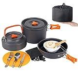 Camp Cookware Set, MEETSUN 17 Piece Camping Cookware 3L Camping Pot 4 Person High Capacity Camping...