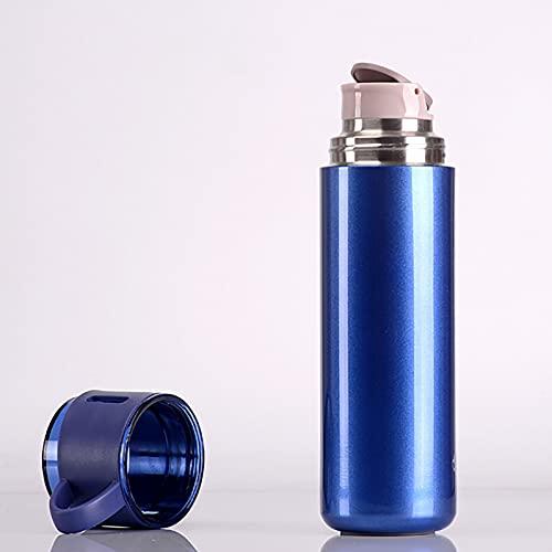 CYLZRCl Botella Agua Termo Acero Inoxidable Botella Aislada Vacío Doble Pared con Taza Café, Té, Bebida Caliente, Bebida Fría, Taza Viaje 550 Ml / 18,6 Onzas (Color : Blue)