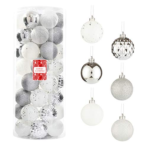 Every Day is Christmas 50ct 57mm/ 2.24' Christmas Ornaments, Shatterproof Christmas Tree Ornaments Set, Christmas Balls Decoration (White & Silver)
