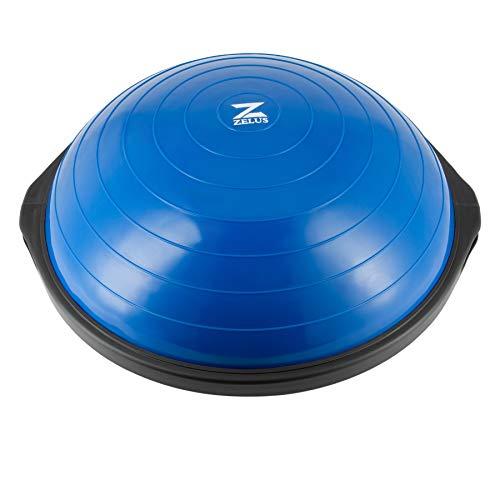 Z ZELUS 64 cm Pelota de Equilibrio Inflable con 1 Pelota de Yoga Adicional y Bomba Bola de Yoga con 2 Bandas de Fitness Capacidad 680 kg Equipo de Entrenamiento de Fuerza Yoga, Fitness (Azul)