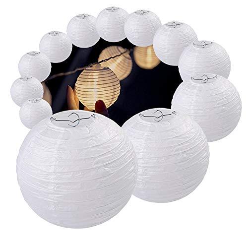 """Agoer Papier Laterne 12er weiße Lampenschirm Lampion 40cm 16"""" in Kugel-Form Ballform für Hochtzeit Kirche Garten Party Dekoration"""