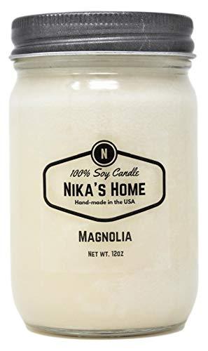 Nika's Home Magnolia Soy Candle - 12oz Mason Jar