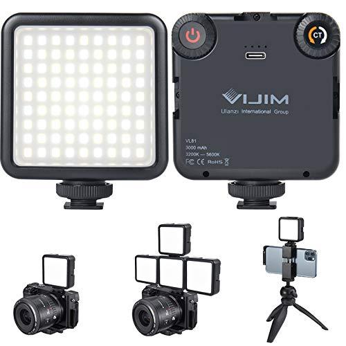 VL-81 LED ビデオライト 撮影用 照明 スマホ カメラライト 小型 USB 充電式 3000mAh Type-C 3200k-5600k CRI95+ 色温度調整可能 ソフト光 明るい iPhone Samsung Canon Nikon Sony Zhiyun Smooth 4 DJI OSMO Mobile 3 Action Gopro 5 6 7 8 pro用